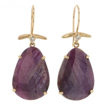 Purple Sapphire Gold Earrings Image